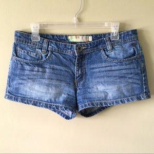 Roxy Dark Blue Denim Shorts 5 Pocket Cotton Casual